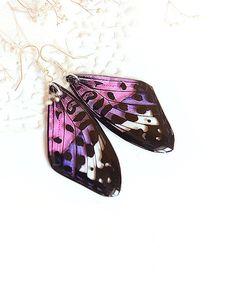 Papillon aile - boucles résine transparente rose pourpre - boucles Dangle Transparent Morpho coloré ecofriendly boucles doreilles ●▬▬●✿●▬▬● Boucles