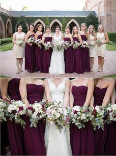 Purple Long Chiffon Strapless Bridesmaid Dress