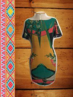 Vestido Curto Costas Nuas - Estampa Bambu