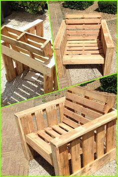 Self made chair, made completely from old pallets. Recycle upcycle reclaimed wooden garden furniture DIY: