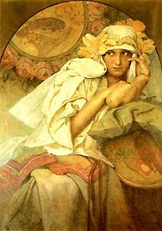 'Muse' by painter Alphonse Mucha Art Nouveau. via Friends of Art Art Nouveau Mucha, Alphonse Mucha Art, Jugendstil Design, Graphisches Design, Art Deco, Love Art, Painting & Drawing, Art History, Amazing Art