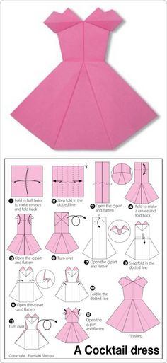 Paper craft origami skirt