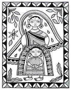 Wall Painting from Madhubani, Bihar Printed card design from Madhubani, Bihar, India Design from Madhubani, Bihar Printed card fro. Pichwai Paintings, Indian Art Paintings, Madhubani Art, Madhubani Painting, Kalamkari Painting, Indian Arts And Crafts, Indian Folk Art, Traditional Paintings, Traditional Art