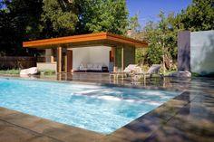 pergola de obra para  jardin con piscina