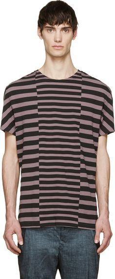 HAIDER ACKERMANN Lilac & Black Striped Nephentes T-Shirt. #haiderackermann #cloth #t-shirt