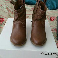 Western Ankle Boot ALDO brown ankle boots. Come with box. Worn twice. Great condition! ALDO Shoes Ankle Boots & Booties