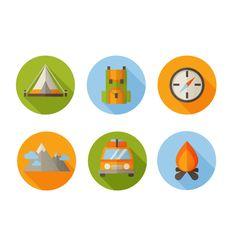 Flat Hiking Icons in Affinity Designer