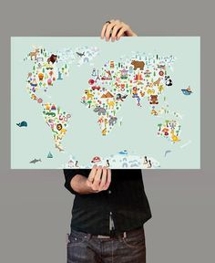 Hey i found this really awesome etsy listing at httpsetsy world map wall art kids room nursery decor animal world poster map nursery gumiabroncs Image collections