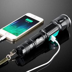 New Portable Waterproof Usb Charge Powerful Led Flashlight Cree Long-range Rechargeable Light Riding Torch Tactical Police Flashlights, Led Flashlight, Usb, Materiel Camping, Torch Light, Military Police, Police Gear, Army, Led Licht