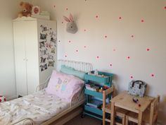 Kids room child's room girls room hensvik wardrobe polka dot wall by ferm living ikea kitchen trolley Minnen bed hm bedding