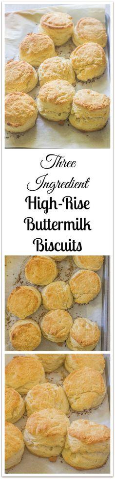Three Ingredient High Rise Buttermilk Biscuits (VIDEO TUTORIAL). High and flaky buttermilk biscuits.