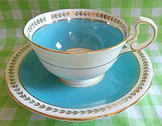 Adorable Aynsley Blue Teacup by RoyalRummage Green Tea Cups, Tea Cozy, Art Deco Era, Cup And Saucer Set, Tea Sets, Vintage China, High Tea, Teacups, Kettle