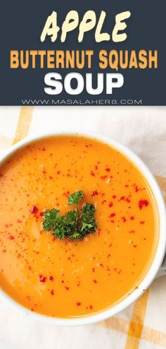 Roasted Butternut Squash Soup with Apple Recipe - Easy fall soup recipe with complex flavors. Healthy and delicious. Apple Recipes Easy, Fall Soup Recipes, Healthy Recipes, Healthy Eats, Healthy Foods, Healthy Soup, Chili Recipes, Pumpkin Recipes, Delicious Recipes