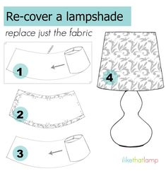 how to recover a lampshade with your own fabric - learn how at ilikethatlamp.com