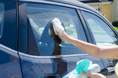 Clean your windshield and car windows with baby wipes.