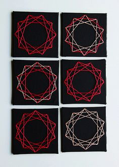 DIY Geometric String Art Escort Cards by Oh Happy Day