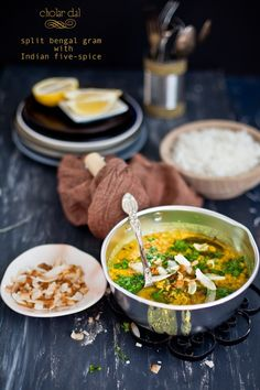 A comfort dal/ lentil soup with split bengal gram/ cholar dal flavored with indian five spice.