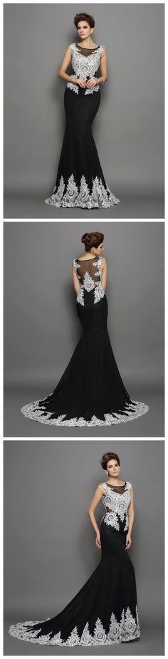 Long black evening dress.<3 Mermaid Scoop Sleeveless Chiffon Chapel Train Lace Dresses