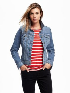 Prob not with red, but with striped tee and colored jeans & denim jacket