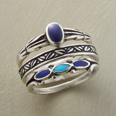 MIDNIGHT GARDEN RING TRIO--Garden motifs flourish on the sterling silver bands of our turquoise and lapis ring set, one decorated with lapis, another inlaid with lapis and turquoise. A handcrafted exclusive. Set of 3. Whole sizes 5 to 10.