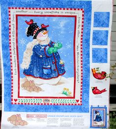 Silver Tabby Cat with Snowman Fabric Upholstery Craft Panel