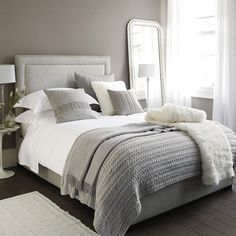 Furniture - Bedrooms : Luxury bedding : The White Company Bedding : Perfect Bed tips - Decor Object Grey And White Bedding, Grey Bedding, Luxury Bedding, Bedding Sets, Grey Headboard, Cream And Grey Bedroom, Small Grey Bedroom, Neutral Bedding, Neutral Bedrooms