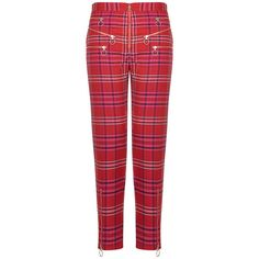 House Of Holland Tartan Zip Trousers ($130) ❤ liked on Polyvore featuring pants, red, plaid pants, high-waisted pants, high-waist trousers, red pants and zipper pants
