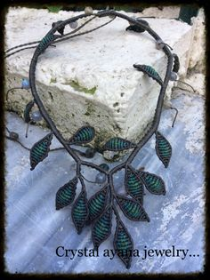 Macrame olive green necklace olive leaves with by crystalayana