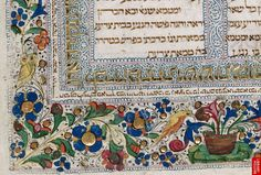 Detail of a full floral and penwork border inhabited by birds.  The 'Lisbon Bible' (1483).