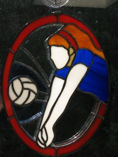 Volleyball player stained glass suncatcher by StainedGlassYourWay, $60.00