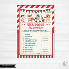 PRICE IS RIGHT Game. Carnival Baby Shower Games. Circus Baby Shower Activity. Vintge. Retro. Kawaii. Carnival Games. Party
