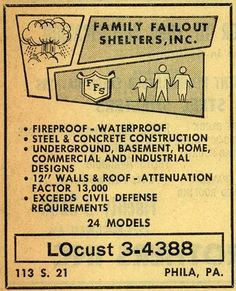 Retro fallout shelter signs and ads