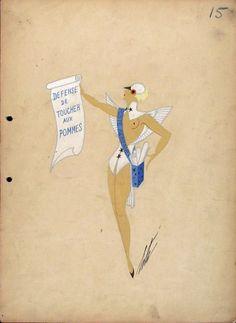 Erté, Costume Sketch, 'Le Pigeon - Voyageur Die Brieftaube', 1937.