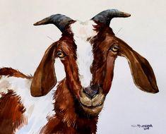 RUSTY GOAT PORTRAIT,horse art,wall animal art, fine animal art, farm animal,Original watercolor painting
