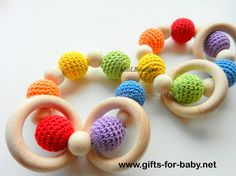 Wooden toys Baby teether Crochet Wood teether Crochet teething toy Gift for babies White Grey Pink - http://www.gifts-for-baby.net/wooden-toys-baby-teether-crochet-wood-teether-crochet-teething-toy-gift-for-babies-white-grey-pink.html
