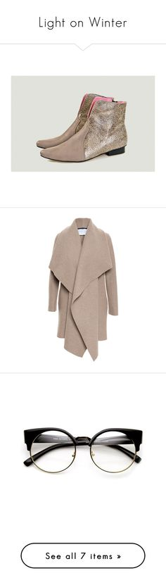 """""""Light on Winter"""" by fashionmaven-208 on Polyvore featuring shoes, boots, ankle booties, outerwear, coats, jackets, coats & jackets, blazer, draped wool coat and shawl collar wool coat"""