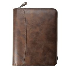 "Day-Timer® Distressed Leather Zippered 1"" Planner Cover with Multi-Pockets Desk Size (4606) - DAYTIMER"