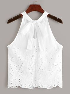 To find out about the Eyelet Embroidered Knot Top at SHEIN, part of our latest Tank Tops & Camis ready to shop online today! Boho Fashion Summer, Diy Fashion, Ideias Fashion, Fashion Dresses, Lace Dress Styles, Blouse Styles, Blouse Designs, Trendy Outfits, Girl Outfits