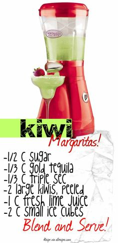 Easy Kiwi Margarita Recipe! just switch the alcohol with sprite :)