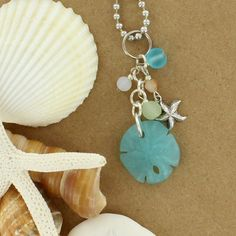 Sadie Green's Sea Glass Sand Dollar Cluster Necklace