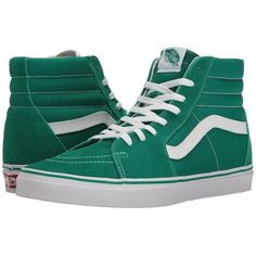Vans SK8-Hi ((Suede/Canvas) Ultramarine Green/True White) Skate Shoes ($65) ❤ liked on Polyvore featuring shoes, sneakers, white skate shoes, canvas sneakers, suede sneakers, white canvas shoes and white sneakers