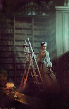 Oh! I've got chills! The room, the dress, the lovely lady and probably a wonderful, dusty and magical library