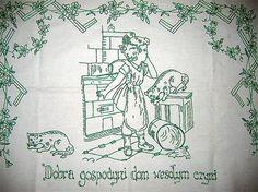 vintage, polish kitchen wall hanging.  'good housewife is a joy. a house joy:-)'