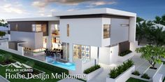 Looking for home builders in Melbourne? Pillar Homes offer Custom & New home building design at affordable prices for your dream homes. Style At Home, Beautiful Architecture, Contemporary Architecture, Facade Design, Exterior Design, Residential Architecture, Architecture Design, House Plans Australia, Facade House