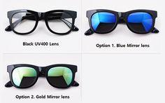 HARUHOLIC Marble Illustration Square Frame Eyeglasses Add Mirror Sunglasses Lens #HARUHOLIC