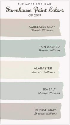The Most Popular Farmhouse Paint Colors of 2020 Find the most popular farmhouse paint colors of From alabastar to agreeable gray, check out our list to help you decide the best color for your space.