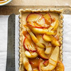 Apple Pear Tart - Purchased pecan shortbread cookies are the crust's main ingredient in this recipe. Add cream cheese, apples, and pears and drizzle with caramel topping for a scrumptious dessert. Apple Dessert Recipes, Fall Desserts, Apple Recipes, Just Desserts, Fall Recipes, Baking Recipes, Fruit Recipes, Turkey Recipes, Christmas Recipes