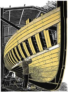"""Pioneer Planking"" linocut by James Dodds RCA (b.1957). www.jamesdodds.co.uk Tags: Linocut, Cut, Print, Linoleum, Lino, Carving, Block, Woodcut, Helen Elstone, Boat, man."