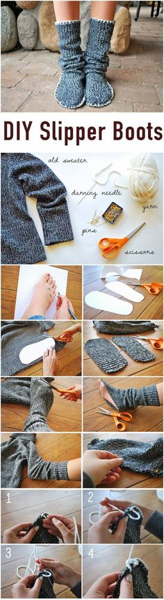DIY Sweater Slippers | 17 Cozy DIY Projects to Keep You Warm This Winter