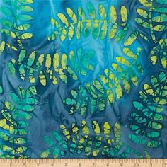 Fabric.com Indian Batik Fern Leaf Green/Yellow/Blue